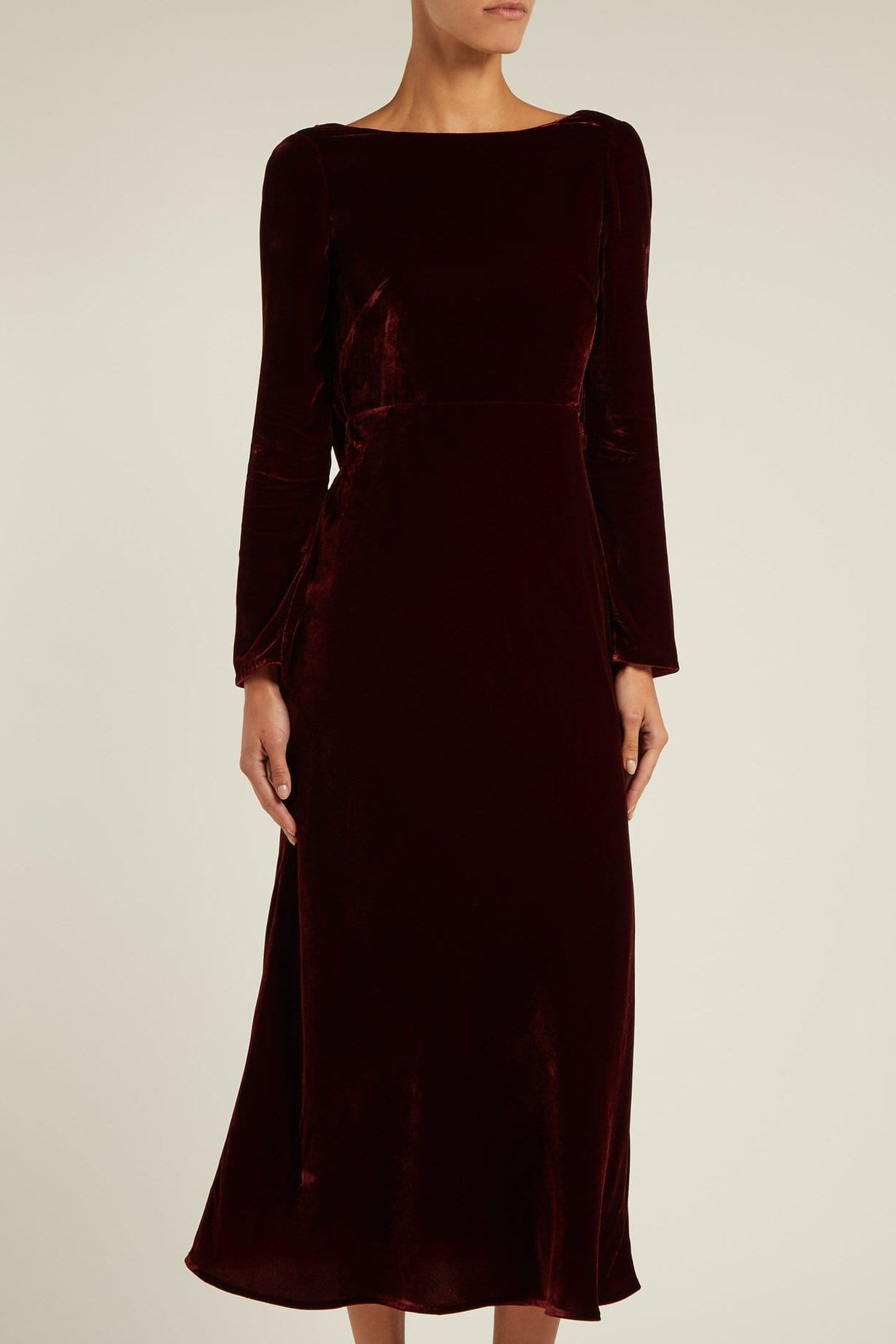 Saloni Tina Boat-Neck Velvet Dress 2 Preview Images