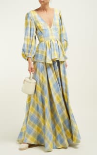 Staud Panarea checked linen maxi 5 Preview Images