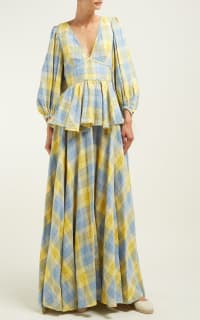 Staud Panarea checked linen maxi 3 Preview Images