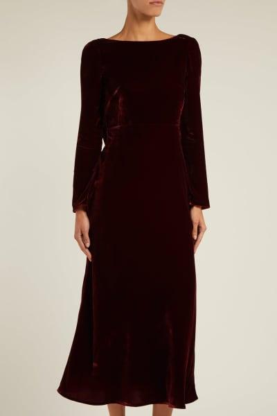 Saloni Tina Boat-Neck Velvet Dress 2