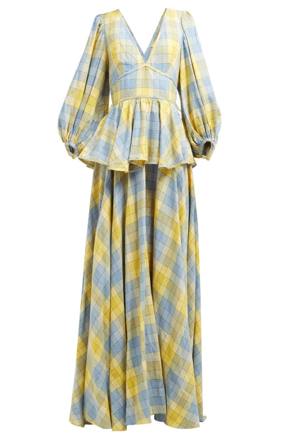 Staud Panarea checked linen maxi