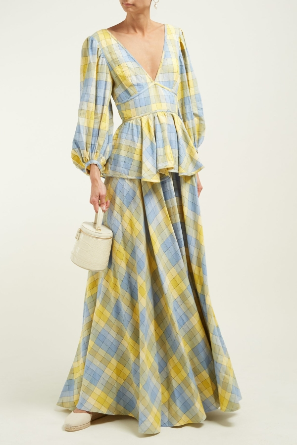 Staud Panarea checked linen maxi 5