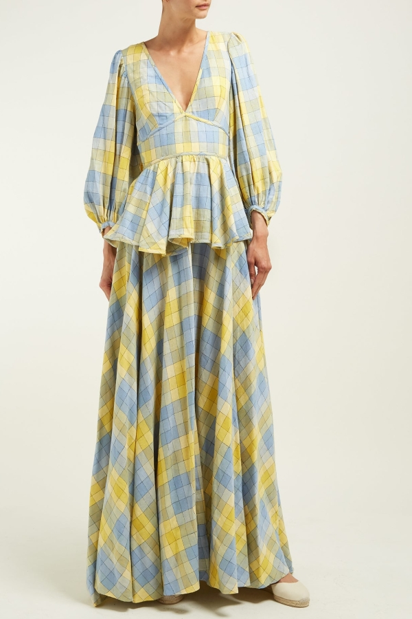 Staud Panarea checked linen maxi 3