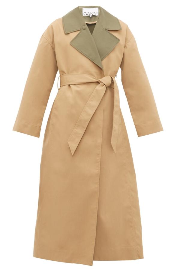 Ganni Double Cotton Trench Coat