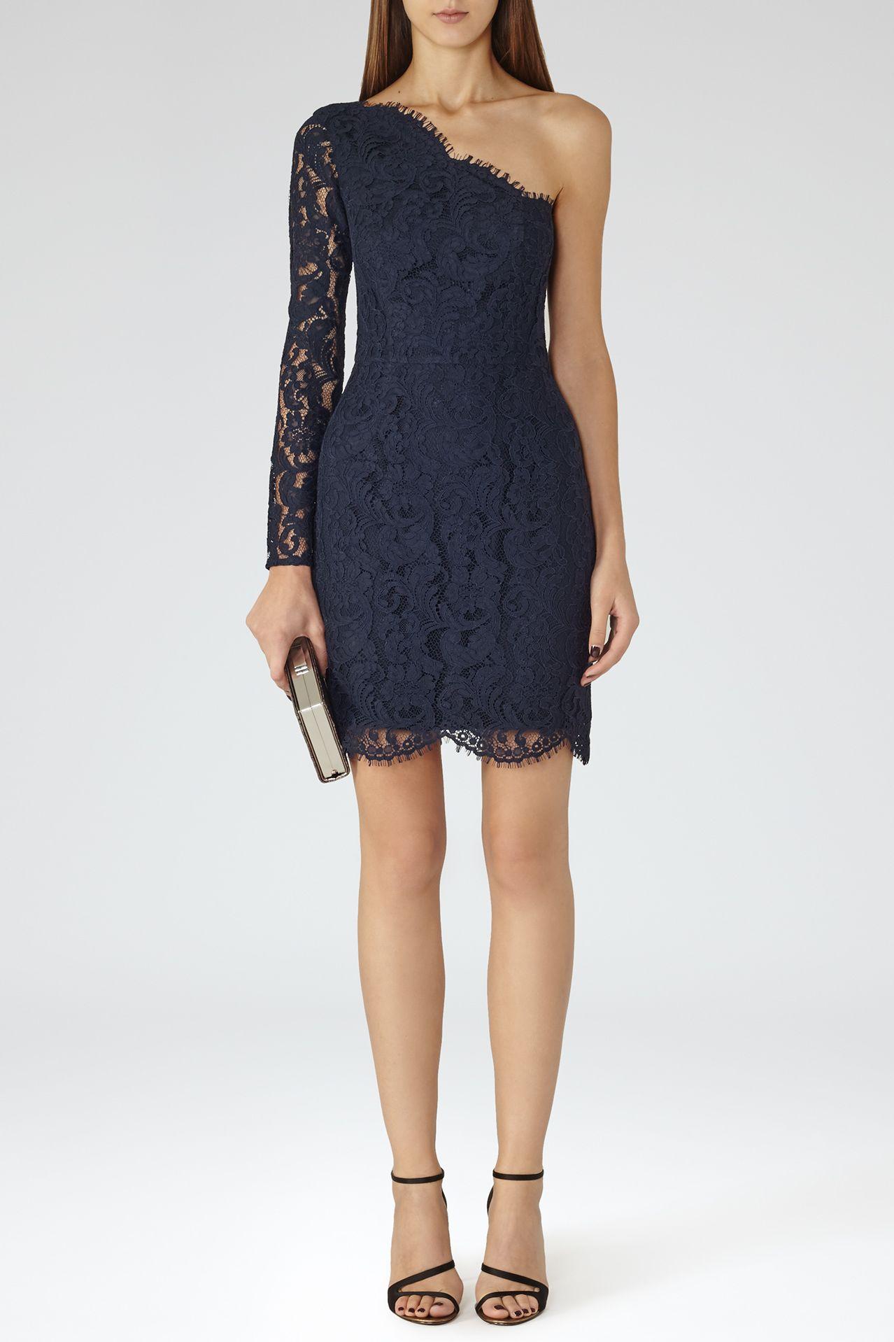 Reiss Leticia Asymmetric Lace Dress Preview Images