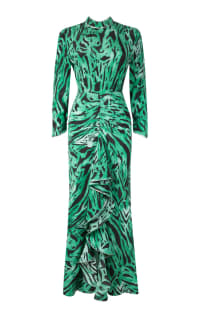 RIXO London Lucy Green Tiger Stripe Dress Preview Images