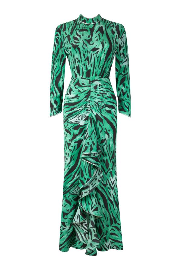 RIXO London Lucy Green Tiger Stripe Dress