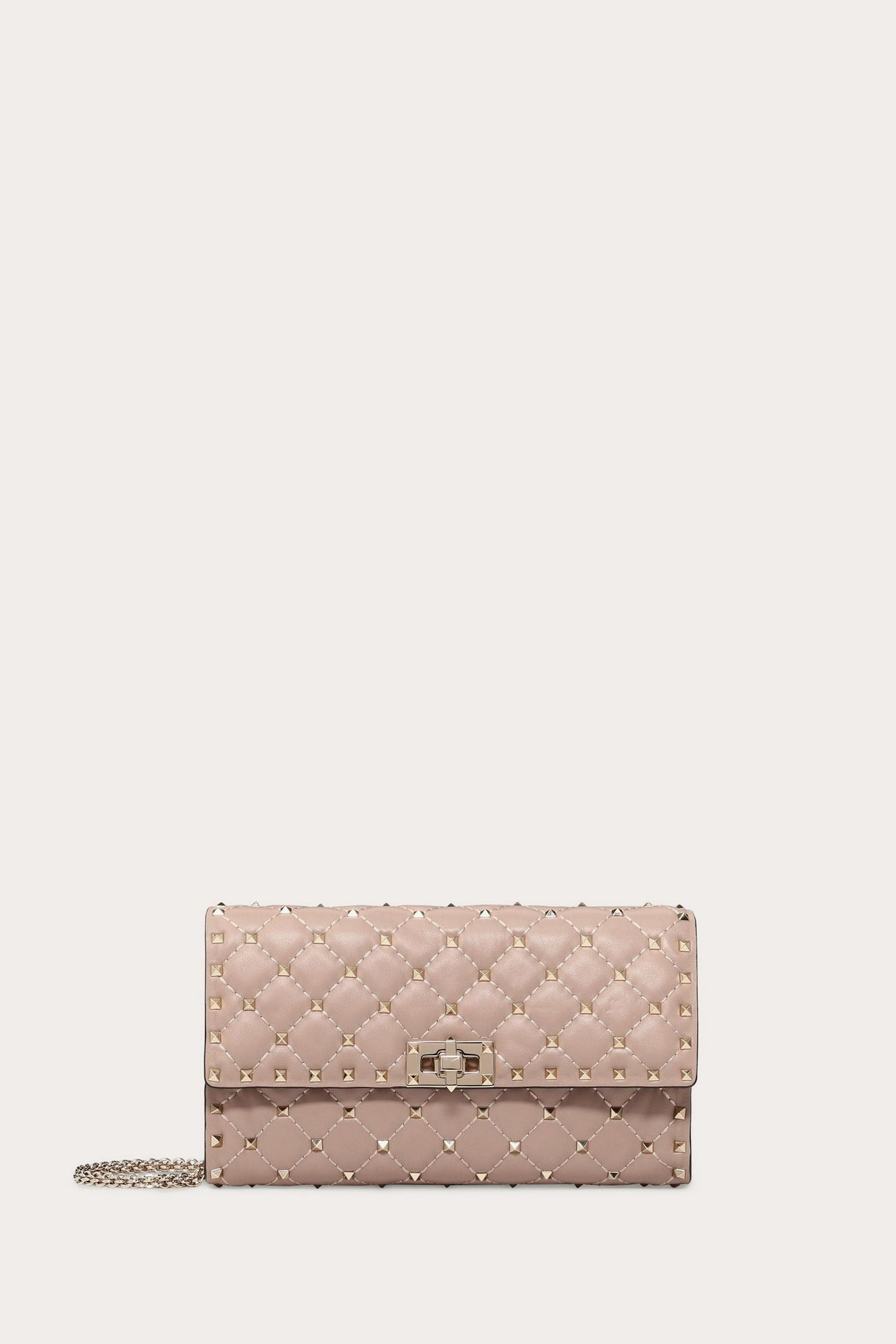 Valentino ROCKSTUD SPIKE CROSSBODY CLUTCH POUDRE 2 Preview Images