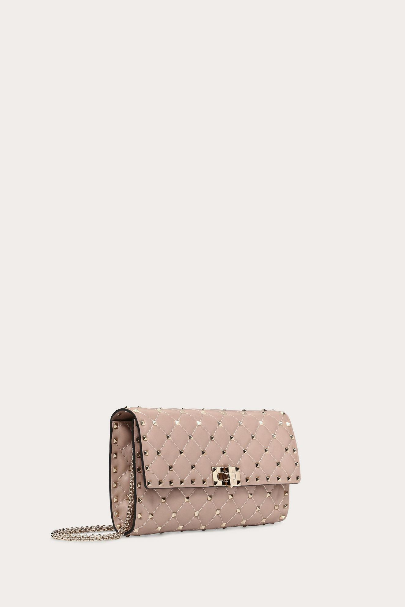 Valentino ROCKSTUD SPIKE CROSSBODY CLUTCH POUDRE 4 Preview Images