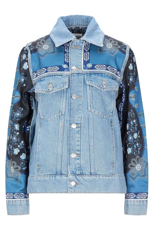 Sandro Printed insert denim jacket
