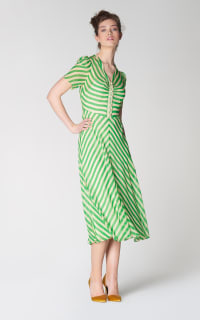 L.K. Bennett Holzer green stripe dress 3 Preview Images