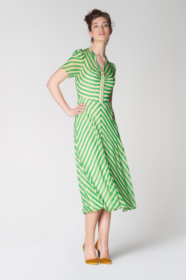 L.K. Bennett Holzer green stripe dress 3