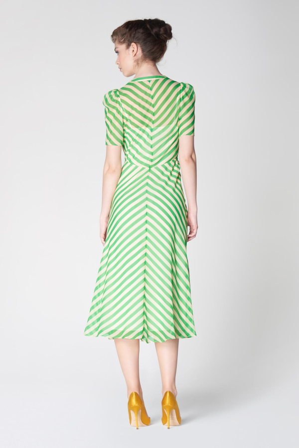 L.K. Bennett Holzer green stripe dress 4