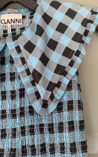 Ganni Smocked checked cotton dress 3 Preview Images