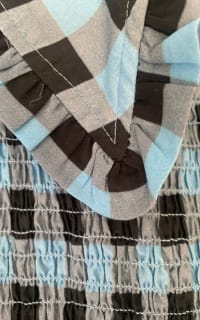 Ganni Smocked checked cotton dress 6 Preview Images
