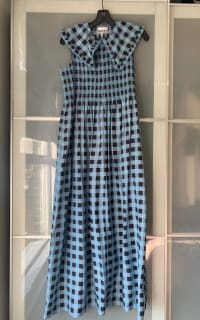 Ganni Smocked checked cotton dress 10 Preview Images