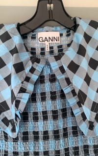 Ganni Smocked checked cotton dress 5 Preview Images