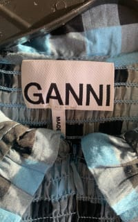 Ganni Smocked checked cotton dress 8 Preview Images