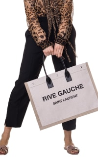 Saint Laurent  Rive Gauche-print canvas tote 2 Preview Images