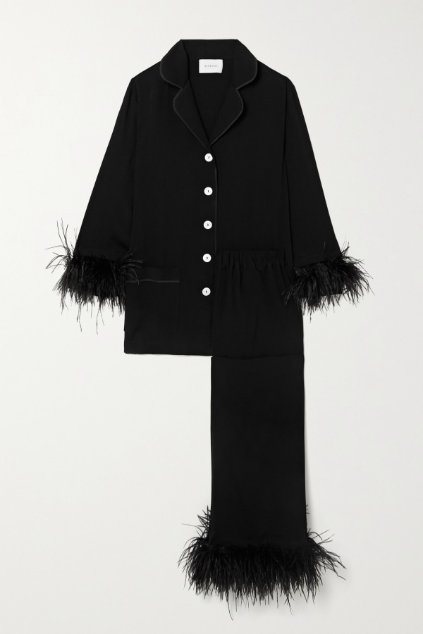 Image 1 of Sleeper feather-trimmed crepe de chine