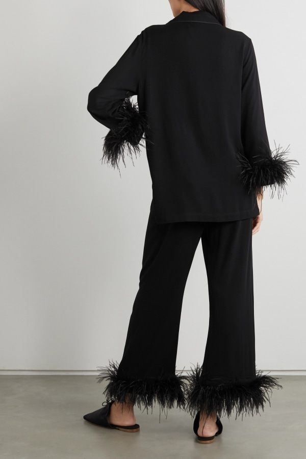 Image 3 of Sleeper feather-trimmed crepe de chine