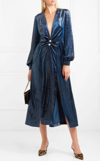 Raquel Diniz Christy crystal-embellished metallic velvet midi dress Preview Images