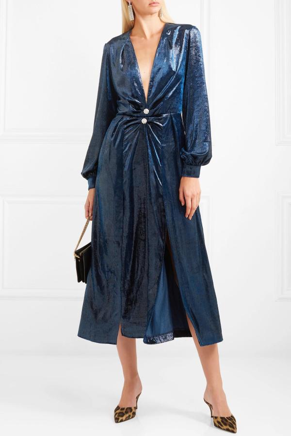 Raquel Diniz Christy crystal-embellished metallic velvet midi dress
