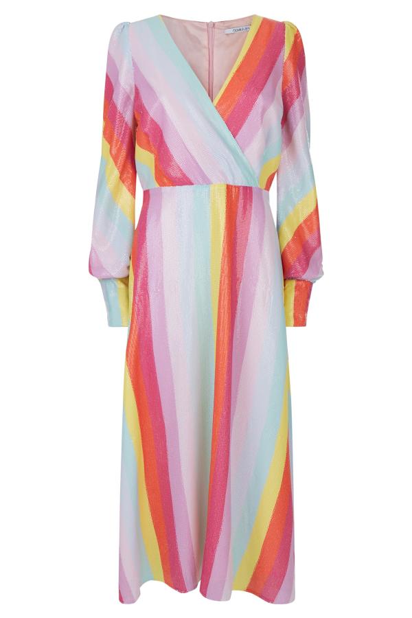 Olivia Rubin Dannii Bright Rainbow Sequin Dress