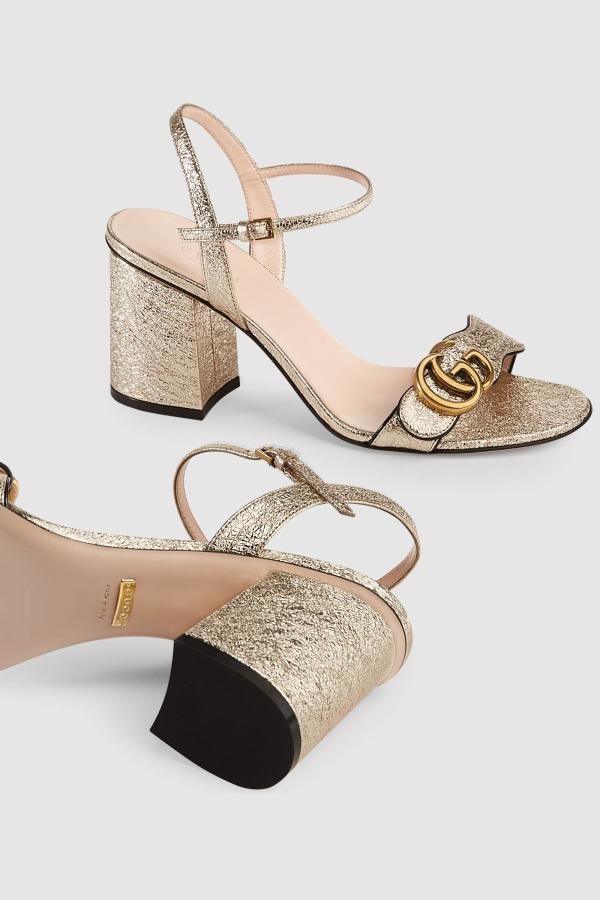 Gucci Metallic laminate sandals 5
