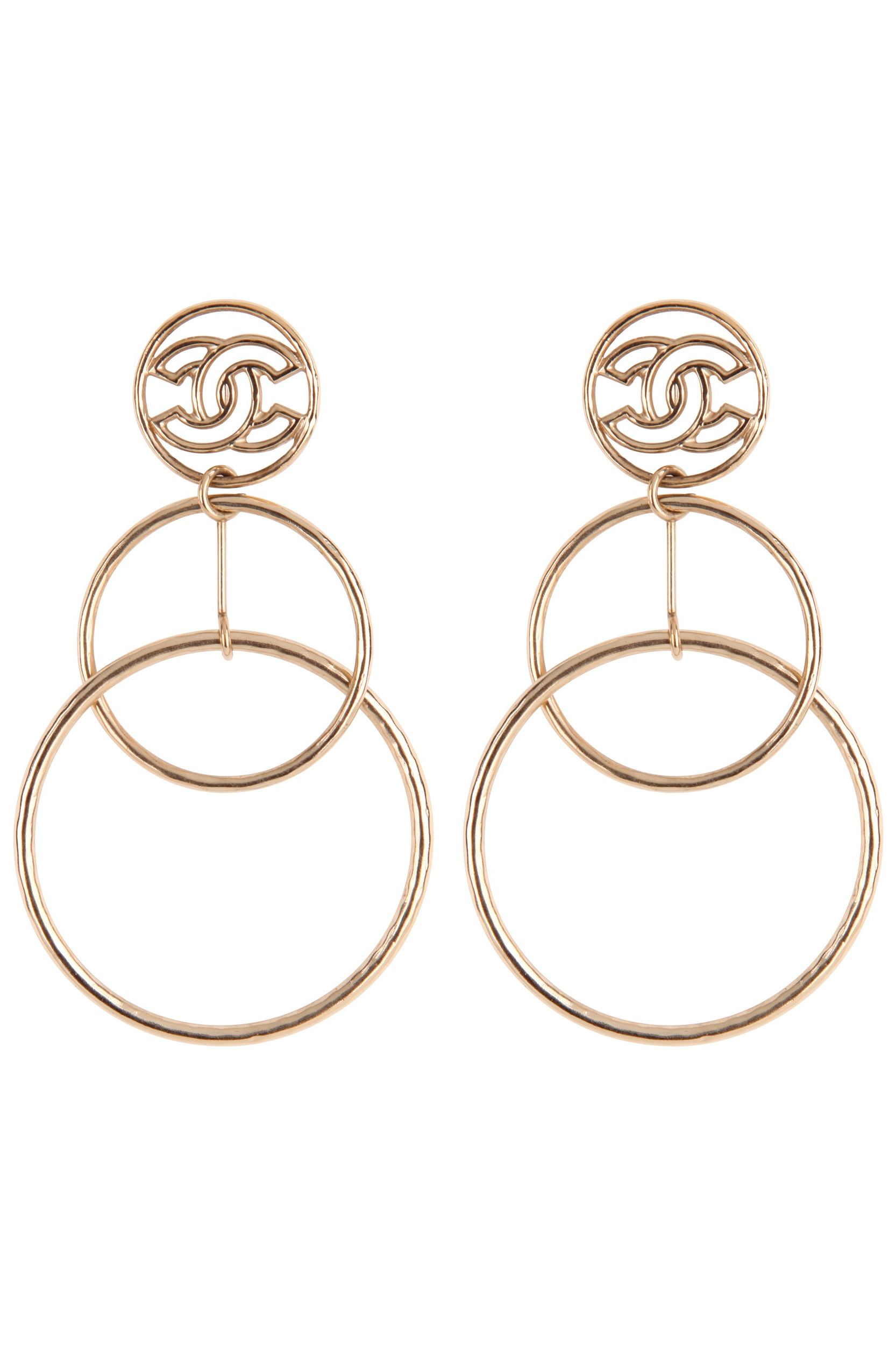 Chanel Gold hoop drop earrings Preview Images