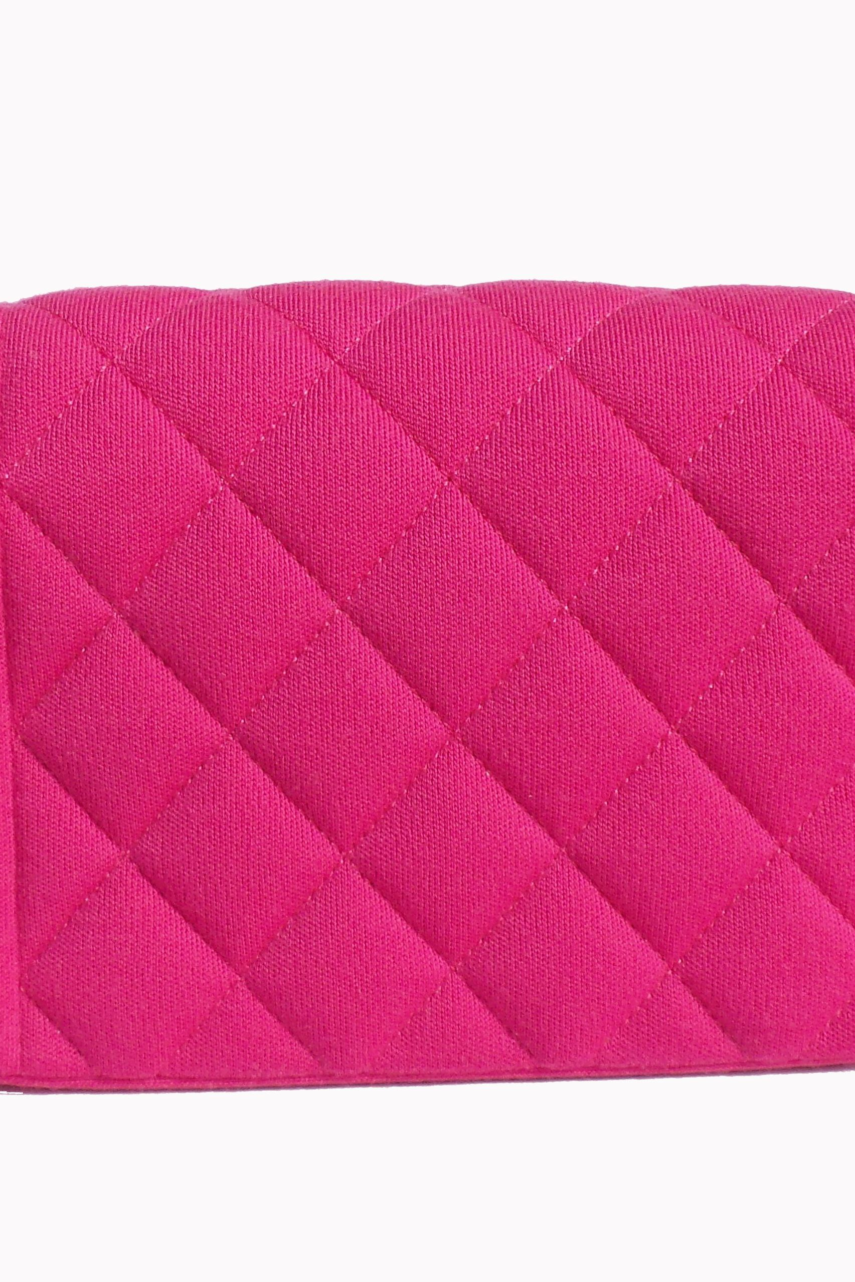 Chanel Hot Pink Quilted Jersey Mini Flap Bag 3