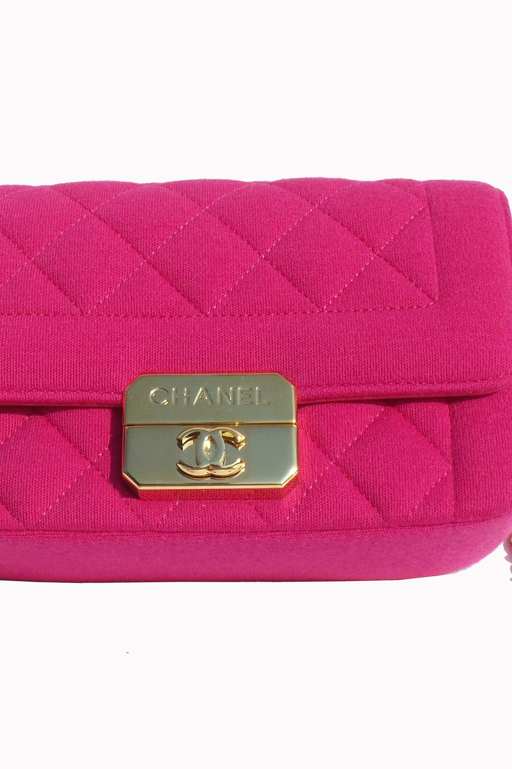 Chanel Hot Pink Quilted Jersey Mini Flap Bag 4
