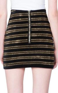Balmain Black Embellished Velvet Mini Skirt Preview Images