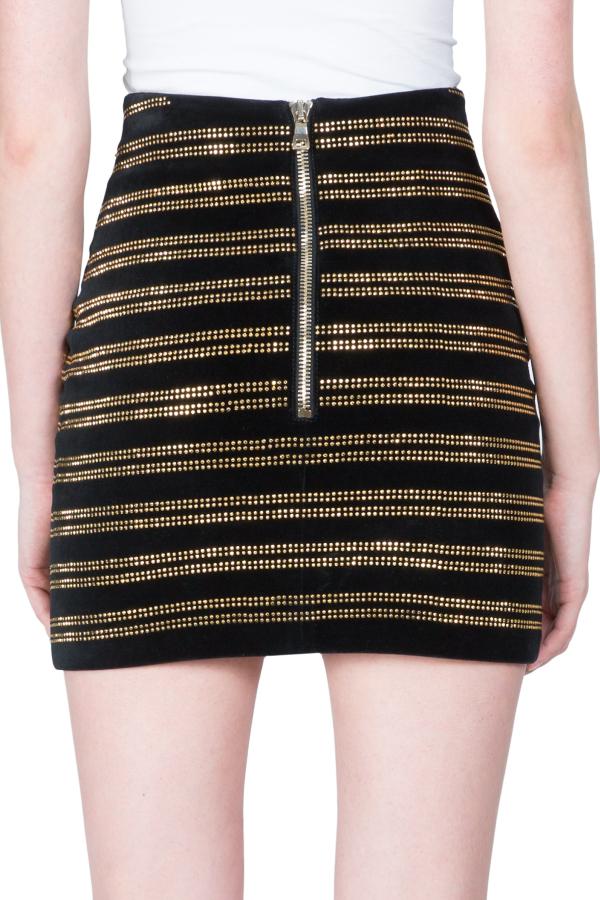 Balmain Black Embellished Velvet Mini Skirt