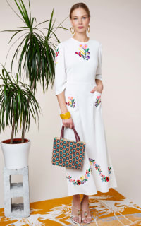 RIXO London Olivia Floral Embroidery dress 4 Preview Images