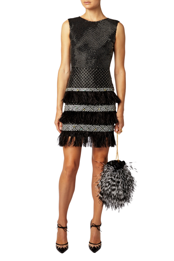 Matthew Williamson Lattice Feather Lace Embroidered Dress  5