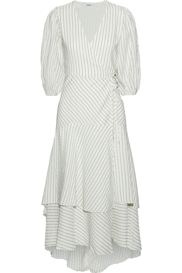 Ganni Wilkie Seersucker Wrap Dress 3