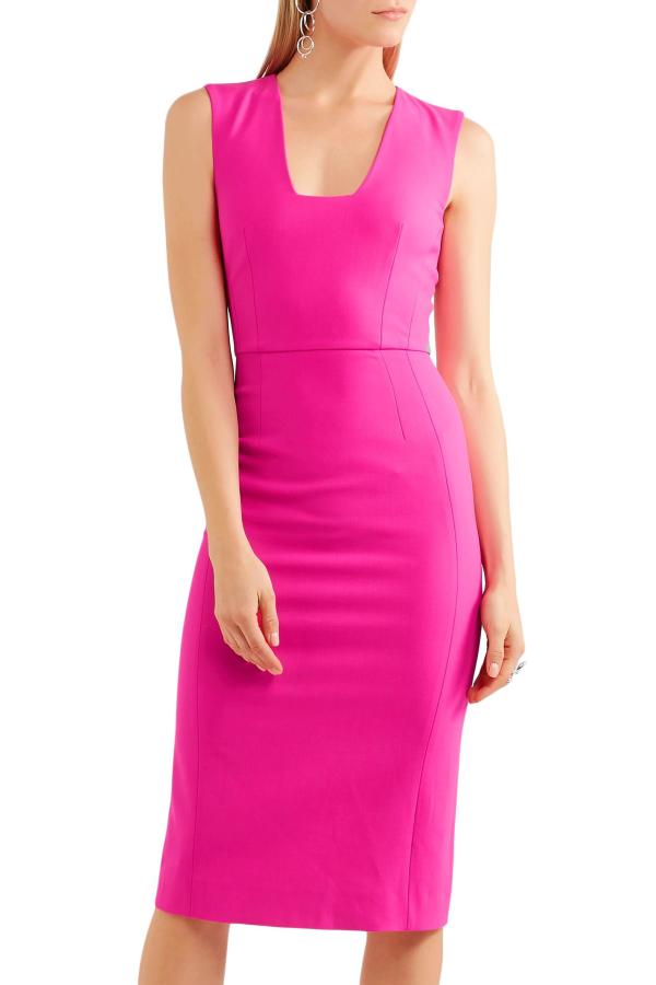 Antonio Berardi Neon Stretch-wool Dress Bright Pink
