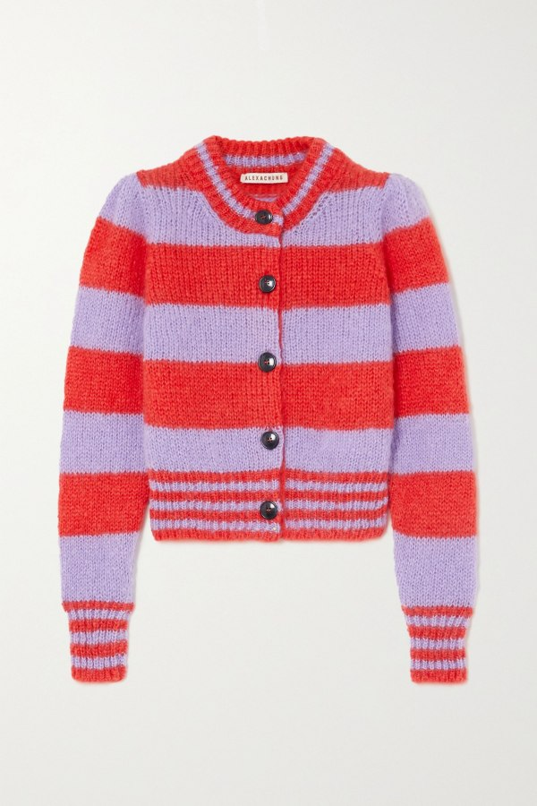 Image 1 of Alexa Chung striped cropped cardigan