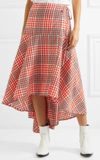 Ganni Cotton seersucker wrap skirt 5 Preview Images