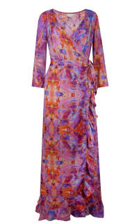 Sophia Alexia Pink Fire Ruffle Wrap Dress 3 Preview Images