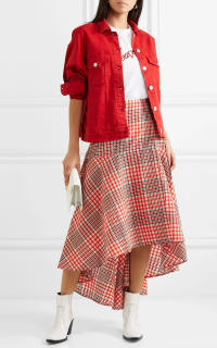 Ganni Cotton seersucker wrap skirt 3 Preview Images