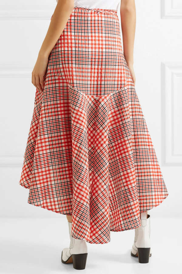 Ganni Cotton seersucker wrap skirt 4