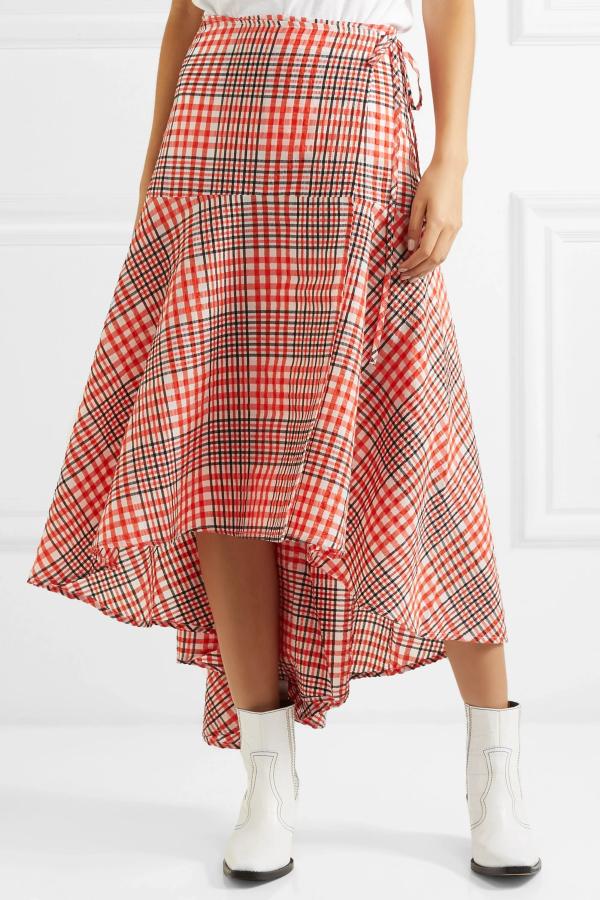 Ganni Cotton seersucker wrap skirt 5