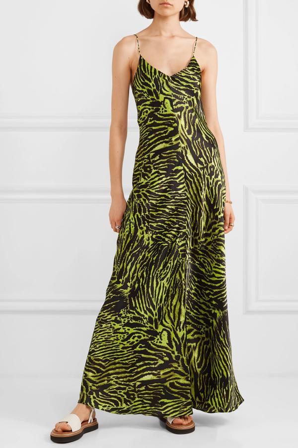 Ganni Tiger print silk maxi dress 2