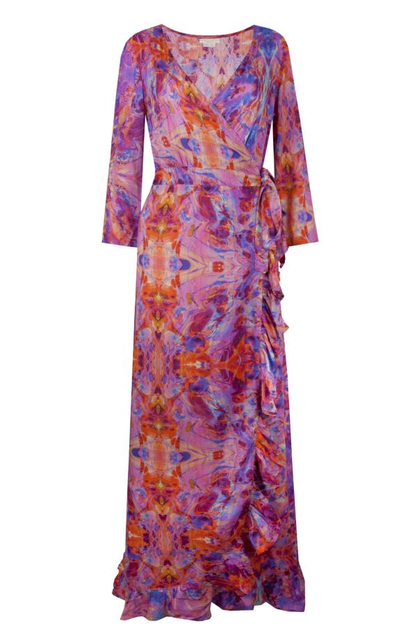 Sophia Alexia Pink Fire Ruffle Wrap Dress 3