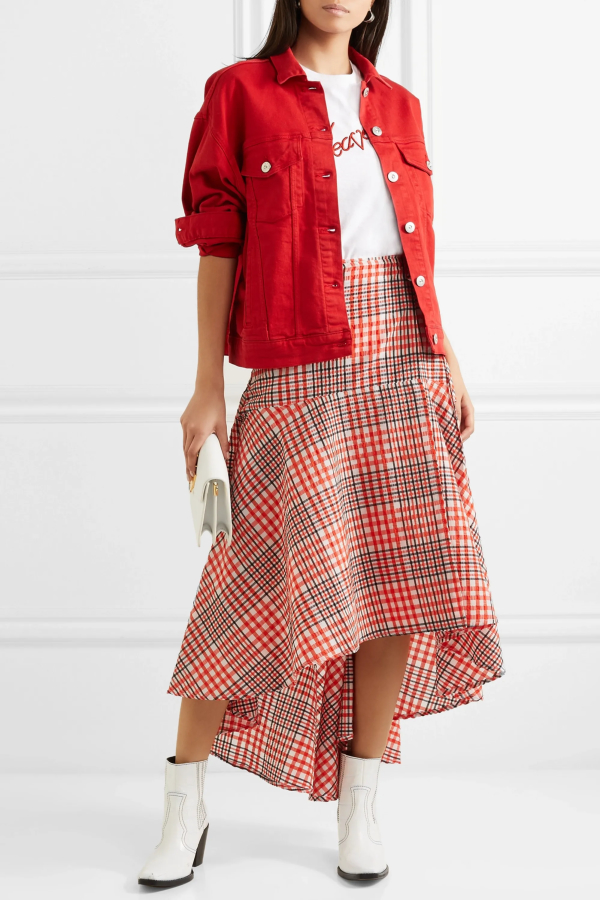 Ganni Cotton seersucker wrap skirt 3