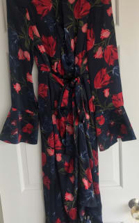 Mother of Pearl Floral Wrap Silk Midi Dress 6 Preview Images