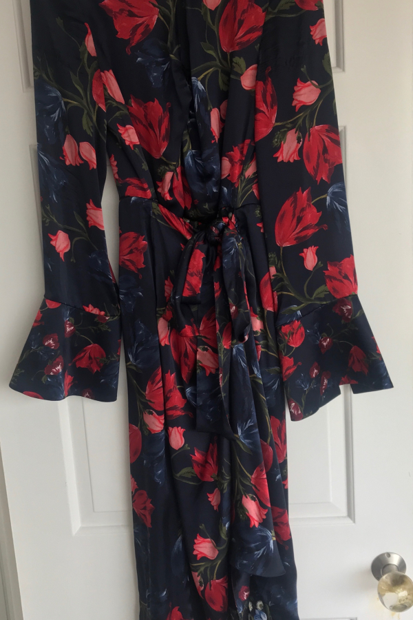 Mother of Pearl Floral Wrap Silk Midi Dress 6