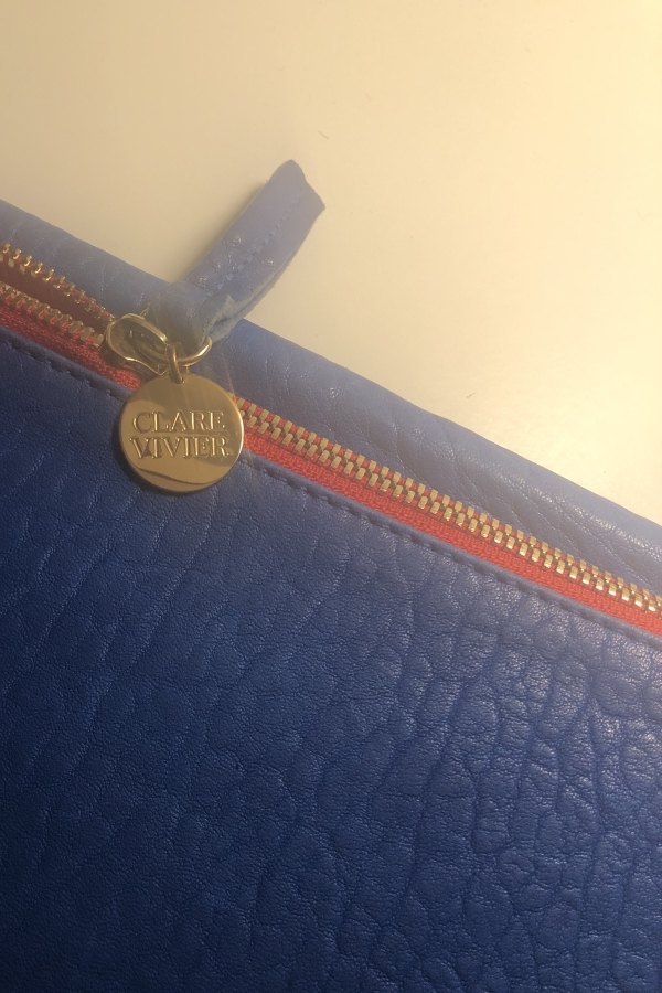 Clare V. Blue and red clutch 2
